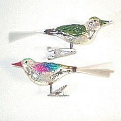 2 German Clip On Bird Christmas Ornaments Spun Glass Tails