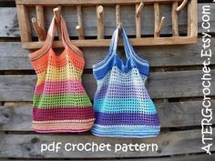 SHOPPING WILL BE MORE FUN WITH THESE COLORFUL MARKET TOTE BAGS The crochet pattern for this market tote bag is a step by step tutorial in English with US crochet terms completed with detailed pictures. A list with crochet terms in 7 languages is included. (US English, UK English,