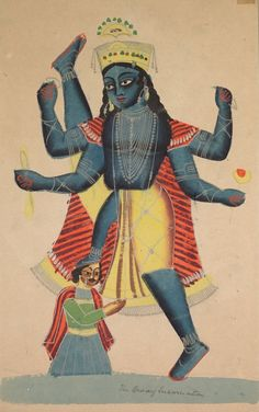Trivikramapada (Three Steps of Vishnu), 1800s- India, Calcutta, Kalighat painting, 19th century, black ink, color and silver paint, and graphite underdrawing on paper, Painting only: 45.60 x 27.90 cm (17 15/16 x 10 15/16 inches). Gift of William E. Ward in memory of his wife, Evelyn Svec Ward 2003.165