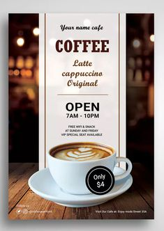 Coffee Shop Promo Flyer by uicreativenet on Envato Elements Coffee Logo, Coffee Poster, Coffee Menu, Coffee Coffee, Coffee Time, Flyer Design Templates, Flyer Template, Restaurant Poster, Modern Restaurant