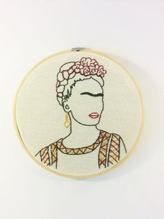 Frida Kahlo outline portrait 8 embroidery hoop by LesfillesShop