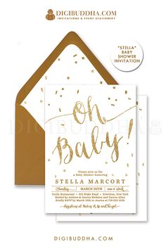Oh Baby! Elegant white and gold glitter gender neutral Baby Shower invitation with gold glitter lettering details. Choose from ready made printed invitations with envelopes or printable baby shower invitations. Gold shimmer envelopes and matching envelope liners also available. digibuddha.com