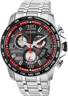 Citizen Watch Eco Drive Red Arrows Chrono Time A-T Limited Edition #alarm-yes #bezel-fixed #bracelet-strap-steel #brand-citizen #case-material-steel #case-width-44mm #chronograph-yes #classic #date-yes #delivery-timescale-4-7-days #dial-colour-black #gend