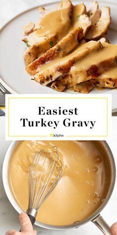 Turkey Gravy Recipe - use compound butter with bird then this for gravy Best Turkey Gravy, Making Turkey Gravy, Turkey Gravy From Drippings, Making Gravy, Homemade Gravy Recipe, Homemade Turkey Gravy, Roasted Turkey Gravy Recipe, Recipe For Gravy, Sauces