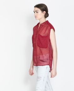 Zara Polka-Dot Shirt with Buttons and Pocket in Wine