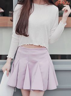 Triangle pleat skirt with cropped flowy top