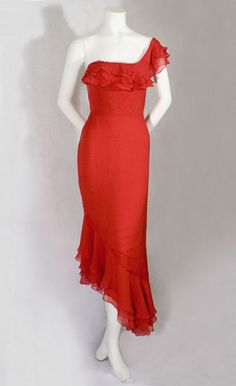 Vintage 1970's Bill Blass red one shoulder evening dress with ruffles