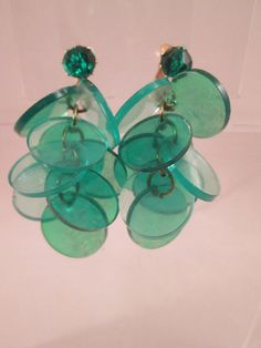 Vintage Green Disc Dangle Earrings Clip-On Hong Kong by BADTIQUE