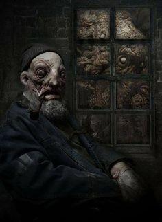 Shadow over Innsmouth Joel Harlow Cthulhu Art, Call Of Cthulhu Rpg, Lovecraft Cthulhu, Hp Lovecraft, Arte Horror, Horror Art, Dark Fantasy Art, Dark Art, Lovecraftian Horror