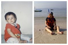 1992 vs 2014. Different place, different time, same person, and similar pose.