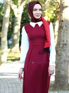 Front two Pleated Dress - Red - Dresses - Modanisa