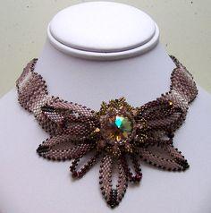 Seed Bead Necklace Peyote Stitch Bezeled Rivoli in by LadyAbeada