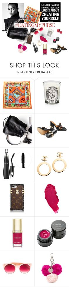 """""""Dating My Purse"""" by choosycipher on Polyvore featuring Hermès, Atelier Cologne, Diptyque, Gucci, Sephora Collection, Chanel, Kate Spade, Dolce&Gabbana, Kari Gran and Pared"""