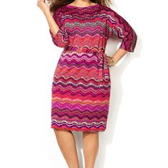 Find the perfect dress for spring weddings, events, work or date night like the plus size Fuchsia Chevron Drapeneck Dress available online at avenue.com. Avenue Store Trendy Fashion, Plus Size Fashion, Fashion Outfits, Avenue Dresses, Dress Images, Girly Outfits, Plus Size Women, Dresses For Work, Dresses Dresses