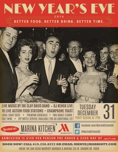 Celebrate New Year's Eve with better food, better drink, and better time at Marina Kitchen Restaurant! Enjoy live music by the Clay Davis Band, DJ Kenso Live, 10 live action food stations, a champagne toast, two dance floors, and much more! #sandiego #2014 #party