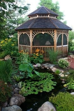 When+your+gazebo+is+in+the+midst+of+a+garden+or+pond+area+such+as+this+one,+you+may+encounter+bugs.+If+you+plan+on+spending+significant+time+in+your+gazebo+you+can+install+screens+to+minimize+the+insect+impact.