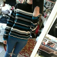 Vintage High Neck Striped Sweater Really soft and cute! Only flaw is one arm has two tiny spots (3rd pic) really hard to see when wearing. Listed brand for exposure! Fits a size small slightly oversized :) Urban Outfitters Sweaters Cowl & Turtlenecks
