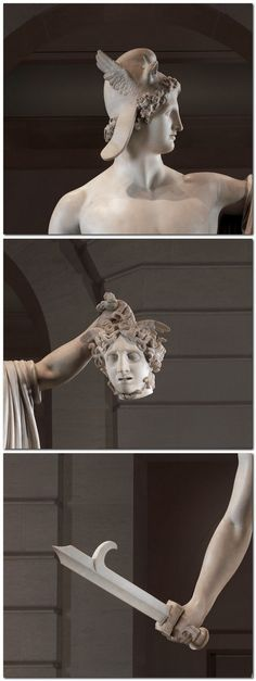 Perseus with the Head of Medusa Antonio Canova (Italian, Possagno 1757–1822 Venice) Patron: Commissioned by Count Jan and Countess Valeria Tarnowski (Dzików, Poland) Date: 1804–6 Culture: Italian, Rome Medium: Marble Dimensions: Overall (confirmed): H. 95 1/2 x W. 75 1/2 x D. 40 1/2 in. (242.6 x 191.8 x 102.9 cm) - Detail.