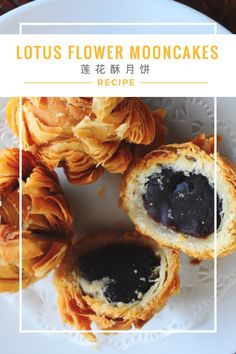 Lotus Flower Mooncakes Recipe 莲花酥月饼 - A crispy puff pastry mooncake that is simply too pretty! Wrapped with a delicious red bean paste filling.