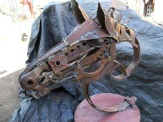 Horse bust made from recycled scrap metal pieces, by Mark Olmstead of Post Falls idaho