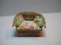 Quarter scale miniature wicker loveseat by CherylHubbardMinis on Etsy