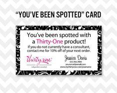 Thirty-One Youve Been Spotted Business Card Printable Direct Sales MLM Business Card    Make your Thirty-One business shine with this cute and