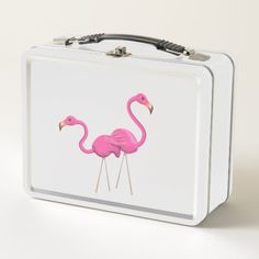 Two Pink Flamingos standing togeather Metal Lunch Box - pink gifts style ideas cyo unique Vintage Lunch Boxes, Personalized Tote Bags, Metal Lunch Box, Pink Bird, Pink Gifts, Pink Flamingos, Cute Pink, Food Plating, Beautiful Creatures