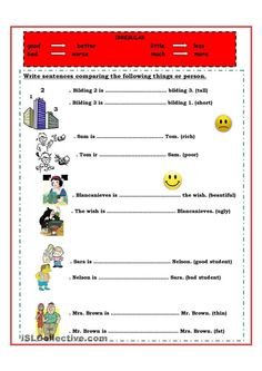 Resultado de imagen de comparative short adjectives exercises