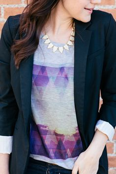 so much perfection with these colors of the graphic tee and a black blazer, my fave! #kendi