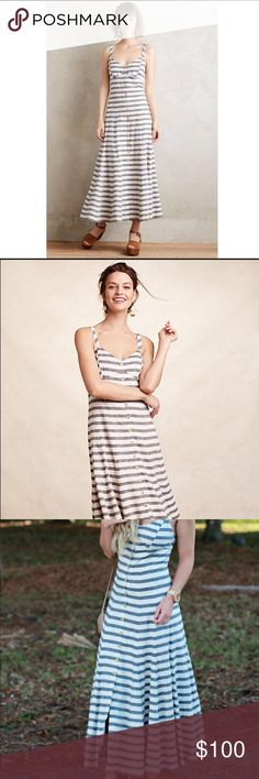 Maeve Women's Gray Striped Maxi Dress Maeve Women's Gray Striped Maxi Dress from Anthropologie! Super cute and beautiful for summer! Anthropologie Dresses Maxi