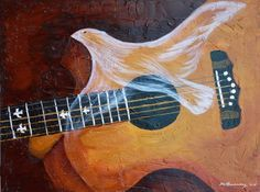 Spirit of Worship, Holy Spirit Dove anointing guitar, prophetic art painting
