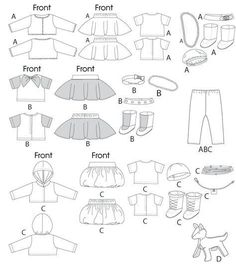 Free Printable Doll Clothes Patterns | | Clothes For 18' Doll, Accessories and Dog | New Sewing Patterns ...