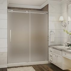 Aston Moselle 60 in. x 32 in. x 77.5 in. Completely Frameless Sliding Shower Door with Frosted Glass in Stainless Steel