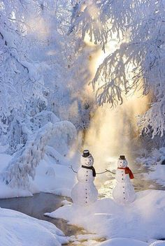 Snowmen.  What a beautiful snow scene.