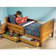 toddler bed with storage space underneath