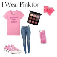 """""""breast cancer awareness month"""" by arpaintin ❤ liked on Polyvore featuring Converse and Skinnydip"""