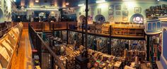 Photographs of Scotland's largest secondhand bookshop: Leakey's Bookshop and Café. Leakey's Bookshop was established in 1979 and has been housed for the last 19 years in the old Gaelic Church (1793). It is Scotland's largest secondhand bookshop with 100,000 selected volumes.