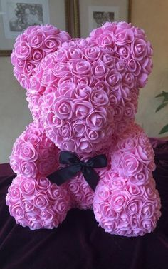 Rose Bear Teddy Bear Forever Artificial Rose Perfect Anniversary Valentines Gift 10 with Gift Box Display Peach