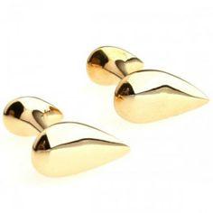 Modern Gold Drop Shape Cufflinks for men. Visit: http://cuffboutique.com.au