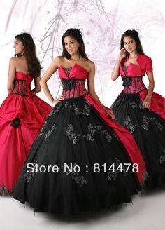 vestidos de color rojo con negro De color rojo y negro vestido