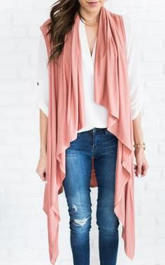 Ily Couture Sandstone Waterfall Vest