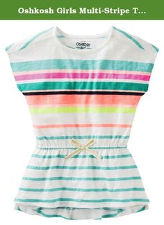 03eb3e55 Oshkosh Girls Multi-Stripe Tunic with Cinched Waist; Multicolored (6M).  Crafted