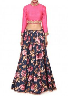 Navy blue lehenga adorn in floral print only on Kalki