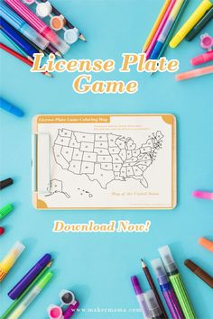 Looking for a fun and easy way to keep your kids occupied on your next family road trip? Download my FREE license plate game printable map and checklist! Printable Maps, Printables, Blog Maker, National Park Passport, Geography Lessons, Passport Travel, Road Trip Games, Making Connections, United States Map