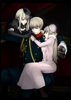 Ivan with his Nyotalia counterparts (both 1P and 2P) - Art by speed on Pixiv, found via Zerochan