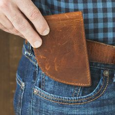 The Front Pocket Wallets are made in Maine from leather, like cow, bison, or even moose, and can comfortably carry cards and cash. And there's added RFID protection, too. It's safer—and can be healthier—to carry your wallet in a front pocket, and these ones are the perfect fit. Gifts For Your Boyfriend, Gifts For Dad, Men Gifts, Daddy Gifts, Leather Front Pocket Wallet, Apple Watch Bands, Sewing Clothes, Making Ideas, Unique Gifts