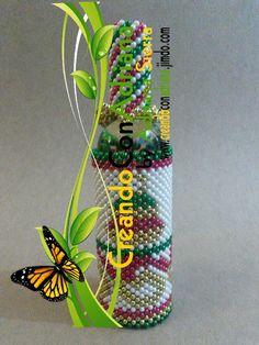 NAVIDAD - CREANDOCONADRIANA Jar Art, Friendship Bracelets, Vase, Beads, Bottle, Bb, Christmas, Inspirational, Beaded Embroidery
