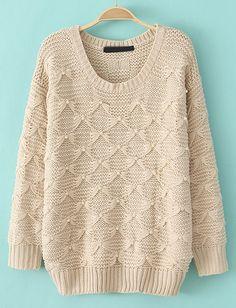 Beige Long Sleeve Bead Knit Sweater - Sheinside.com