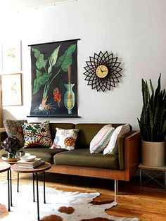 Gorgeous greens in this living room.