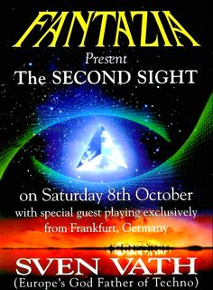 Saturday, 8 October 1994 : Fantazia – The Second Sight Light Grid, Music Flyer, Flyer Design Inspiration, Acid House, Retro Images, Partying Hard, Special Guest, Summer Of Love, Music Is Life